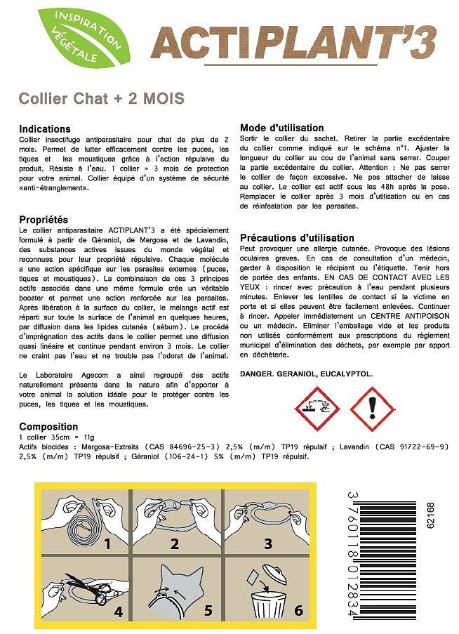 Collier antiparasitaire  ACTIPLANT'3 gris chat.