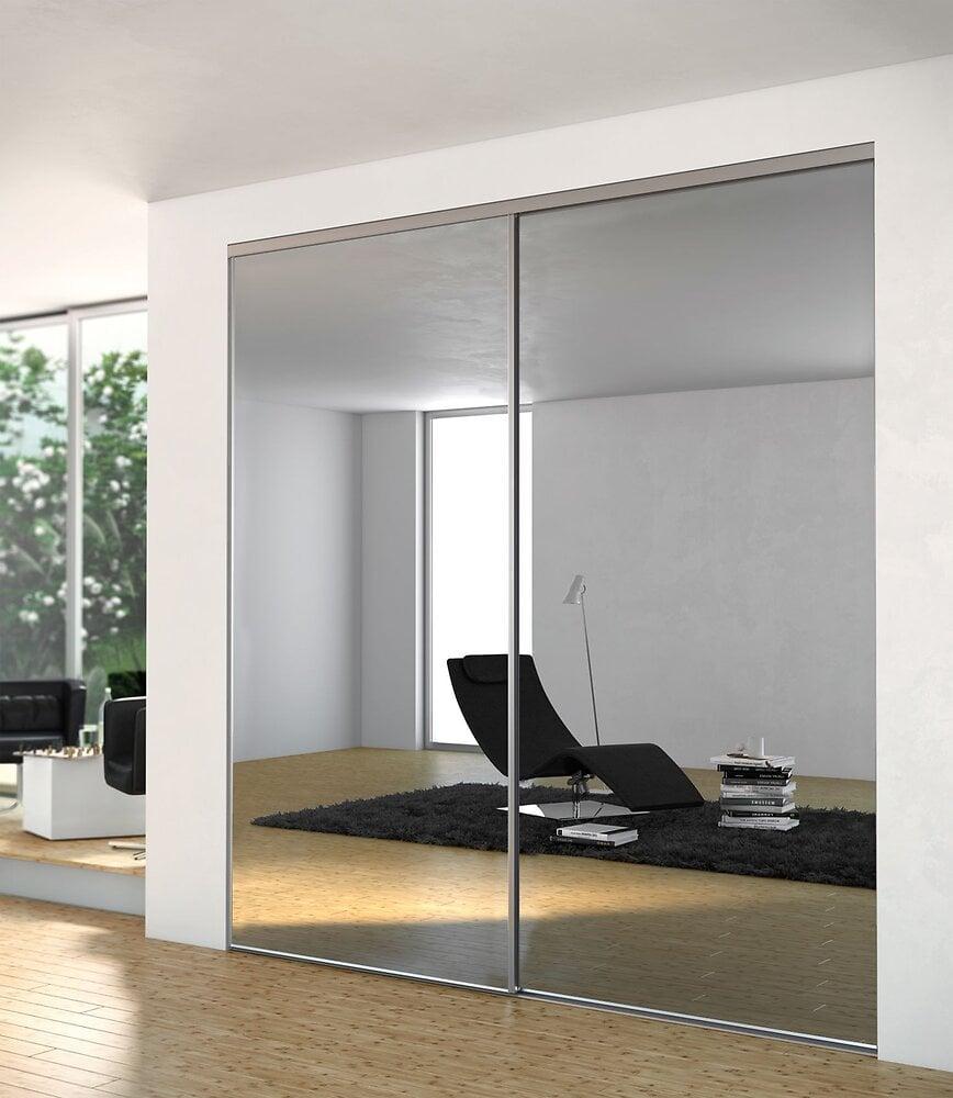 Porte sprint 1vantail 1 partie décor miroir argent H250x91,4cm