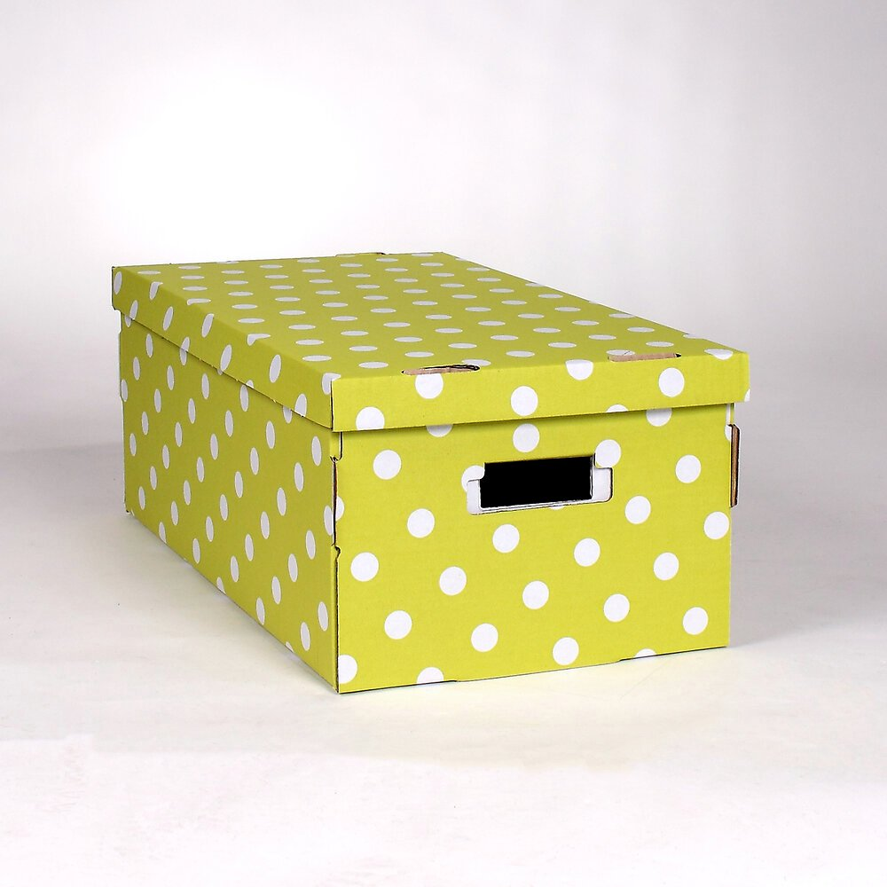 2 boîtes carton pliables vert à pois blanc 52x29xH20cm