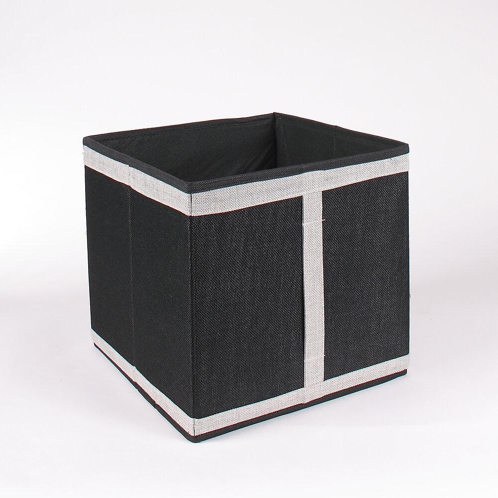 Cube de rangement pliable aspect lin gris