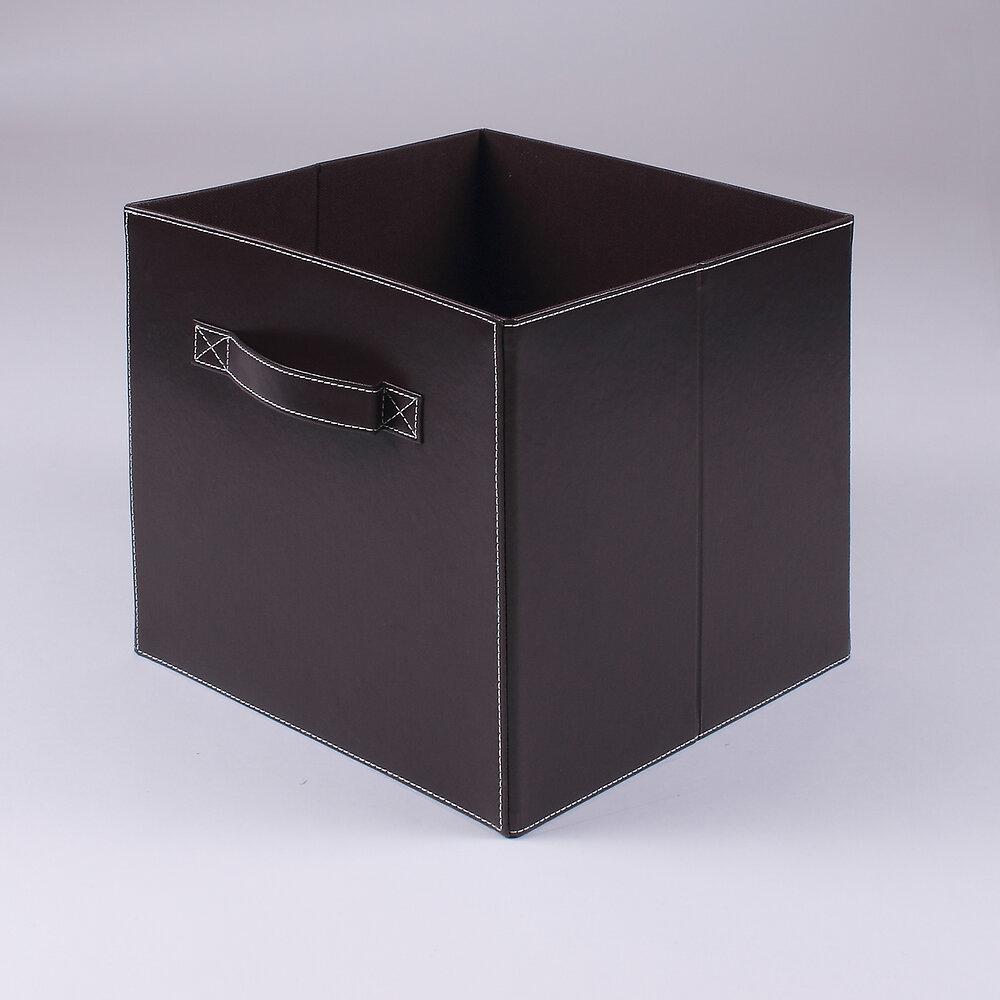 Cube pliable simili cuir marron 2 poignées