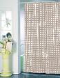 Rideau de douche l.180xh.200cm taupe à pois transparents, PVC