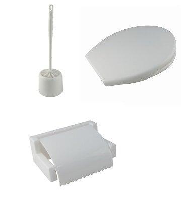 Coffret de 3 accessoires wc en plastique blanc