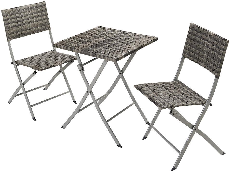 Set de balcon 3 pièces acier rotin gris