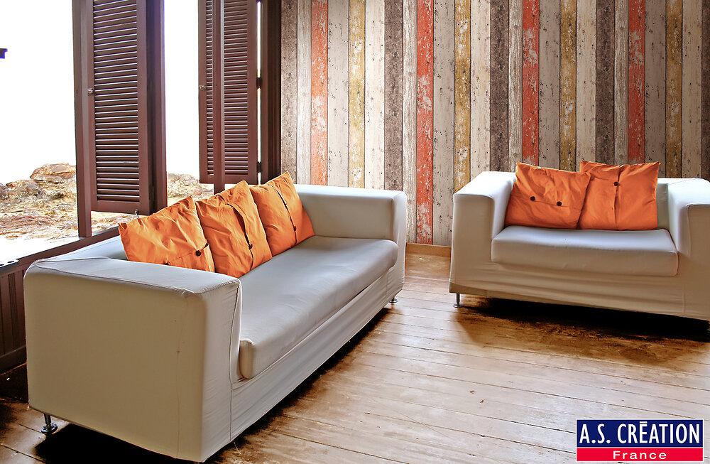 Papier peint vinyle grainé sur intissé AS CRÉATION planche bois coloré