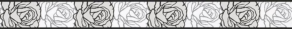 Galon adhésif motif floral roses gris L.5xl.5m