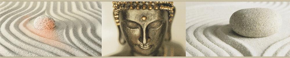 Frise adhésive motif zen Bouddha doré L.5xl.5m