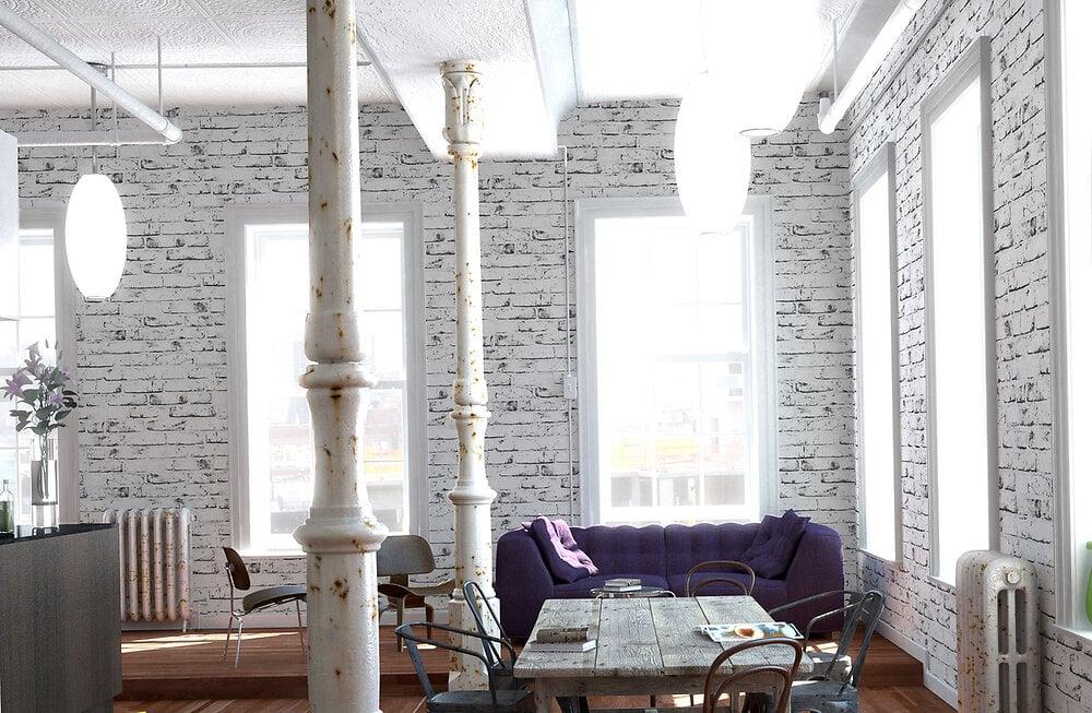 Papier peint expansé sur intissé imitation mur brique
