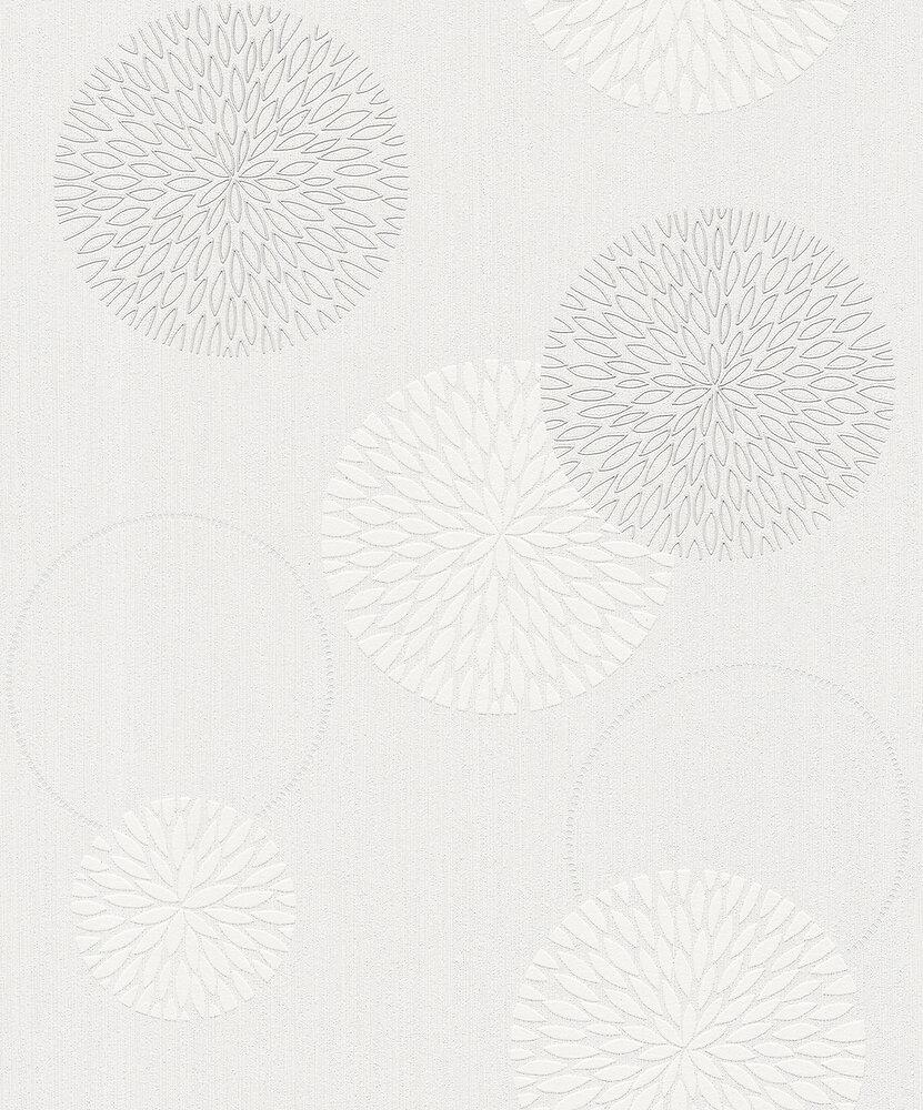 Papier peint expansé sur intissé fleurs bulle blanc
