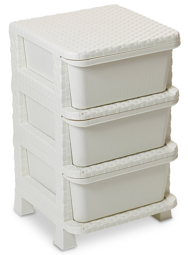 Casier 3 tiroirs Rattan Tower 60 blanc