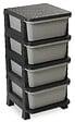 Casier 4 tiroirs Rattan Tower 80 noir/anthracite