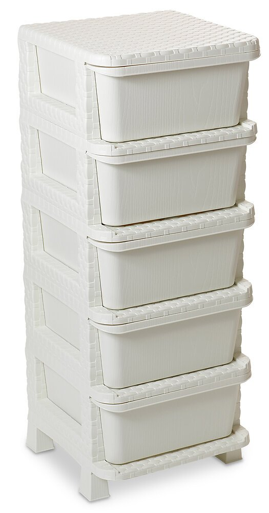 Casier 5 tiroirs Rattan Tower 100 blanc