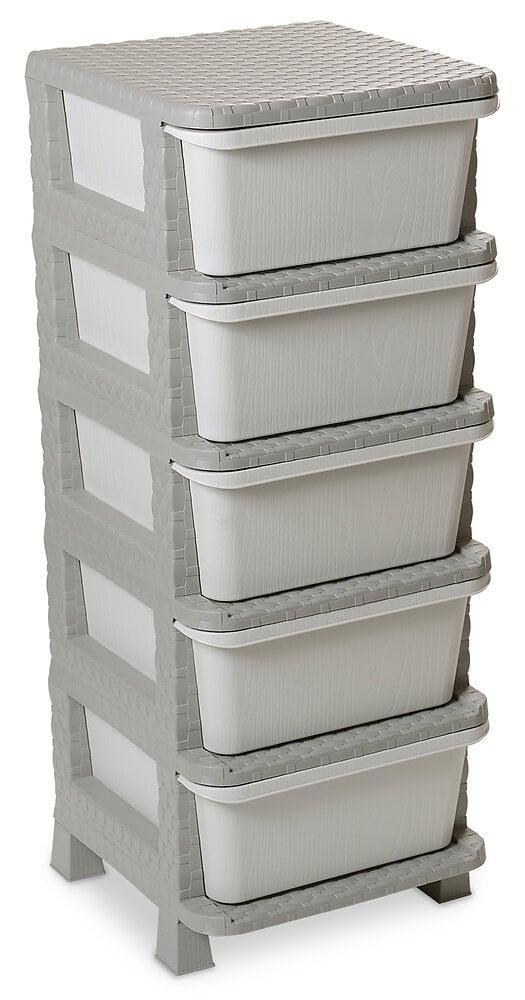 Casier 5 tiroirs Rattan Tower 100 gris