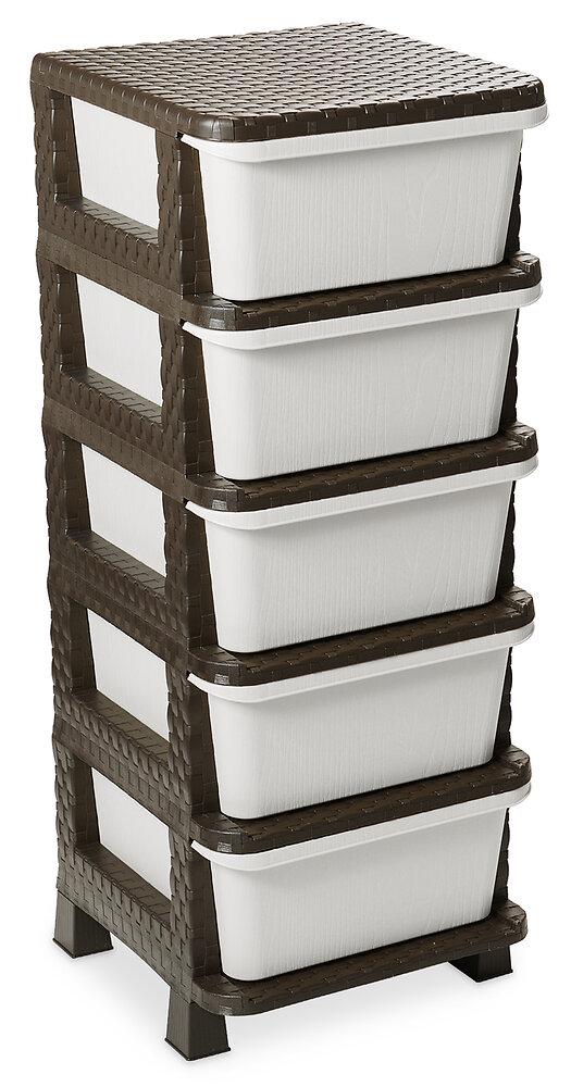 Casier 5 tiroirs Rattan Tower 100 marron