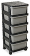 Casier 5 tiroirs Rattan Tower 100 noir/anthracite