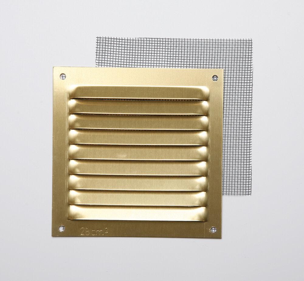 Grille d'aération aluminium or à visser 10x10cm