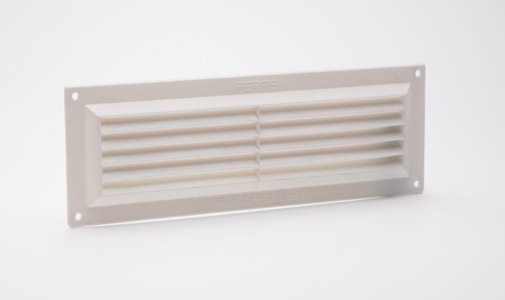 Grille d'aération ABS blanc à visser avec moustiquaire 9cm x26