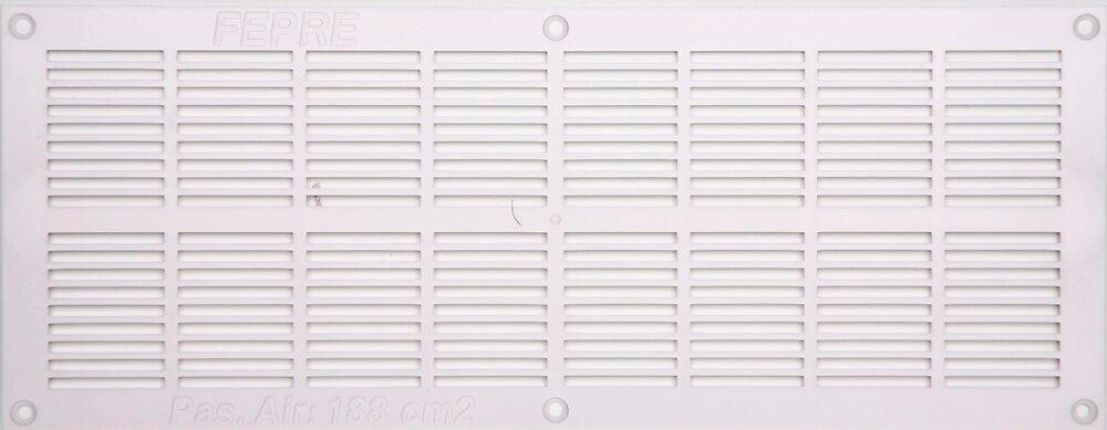 Grille d'aération ABS blanc à visser 13cm x33,7