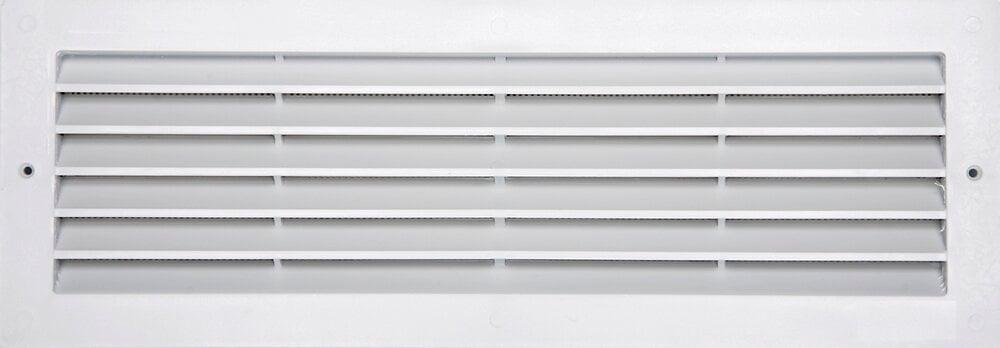 Grille d'aération ABS blanc à encastrer avec moustiquaire 9,5x33,3
