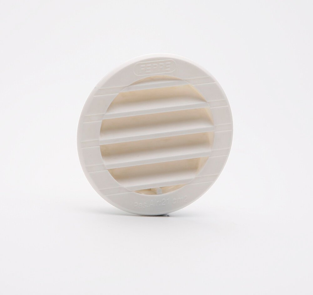 Grille d'aération ABS blanc tube avec moustiquaire diamètre 7,6  cm