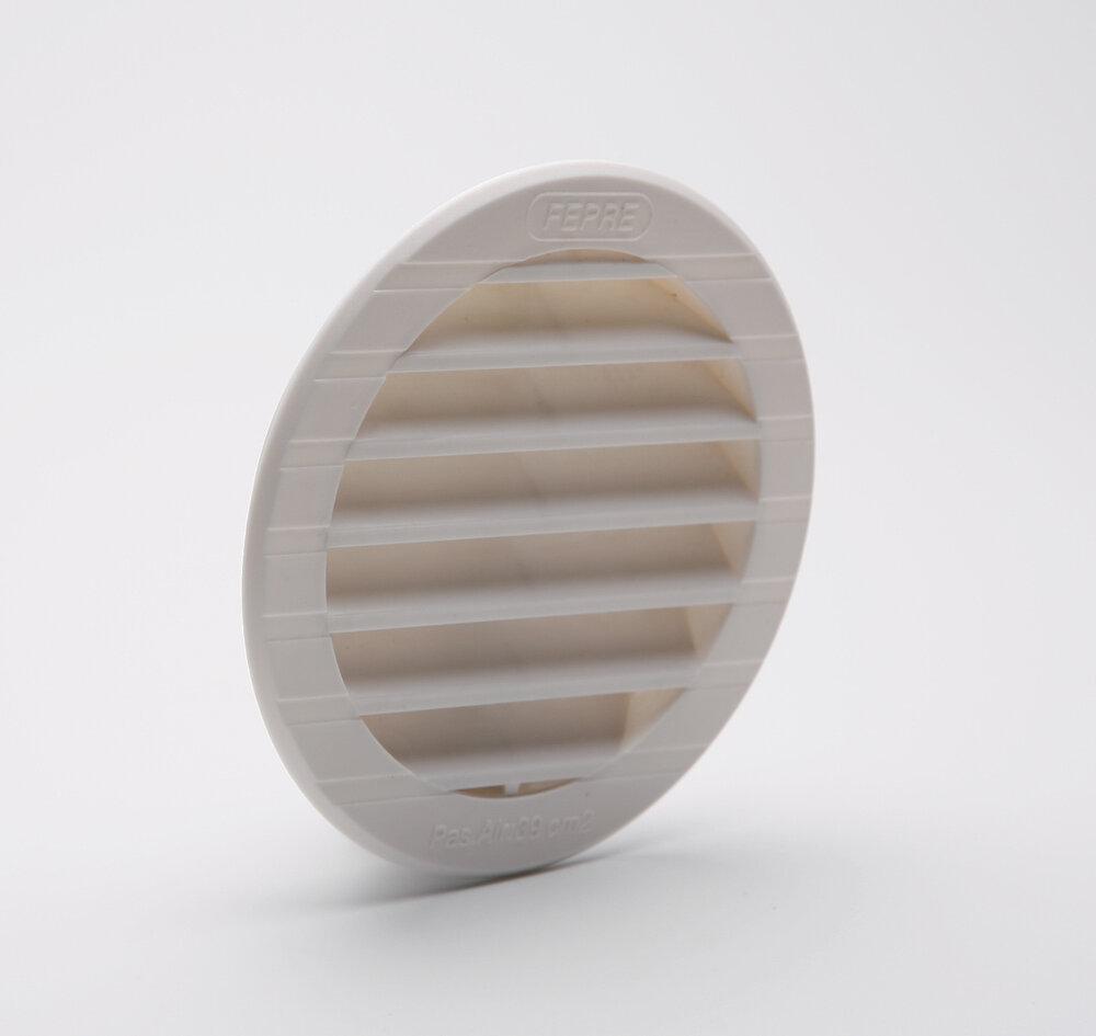 Grille d'aération ABS blanc tube avec moustiquaire diamètre 9,4 cm