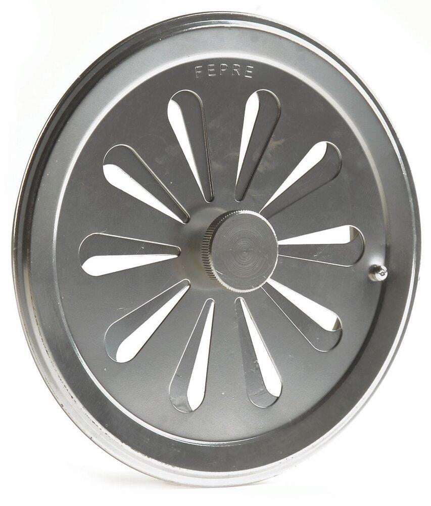 Grille aluminium chromé tube avec entrée d'air réglable diam 12 cm