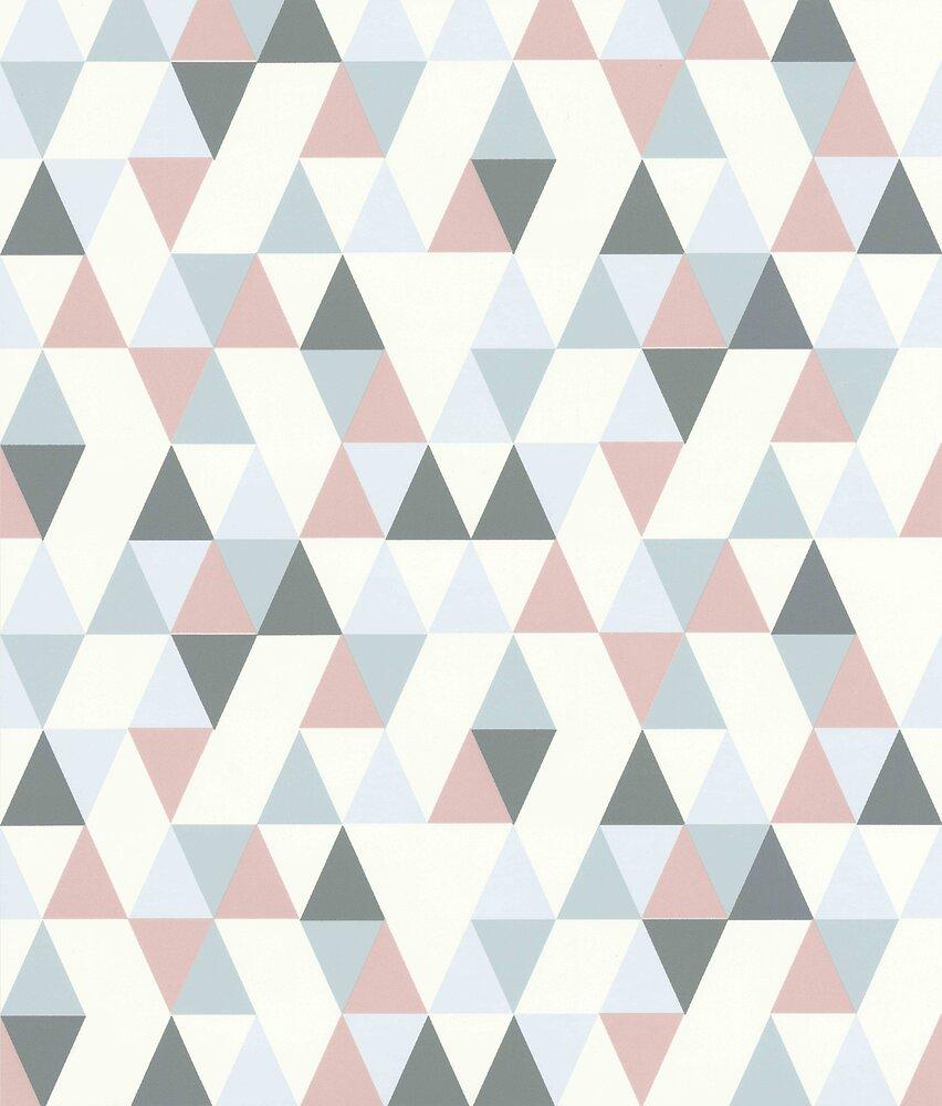 Papier Peint Expansé sur Intissé Triangle Skandinave Gris-Rose-Blanc