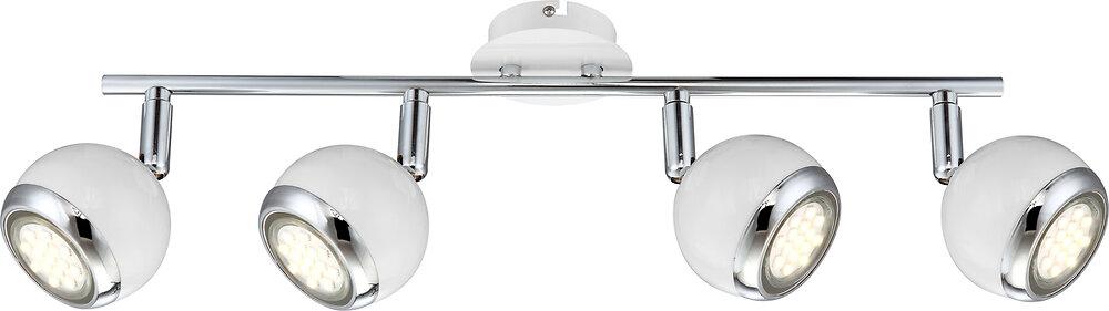 Plafonnier Oman métal blanc avec anneau chromé L.55xh.15cm