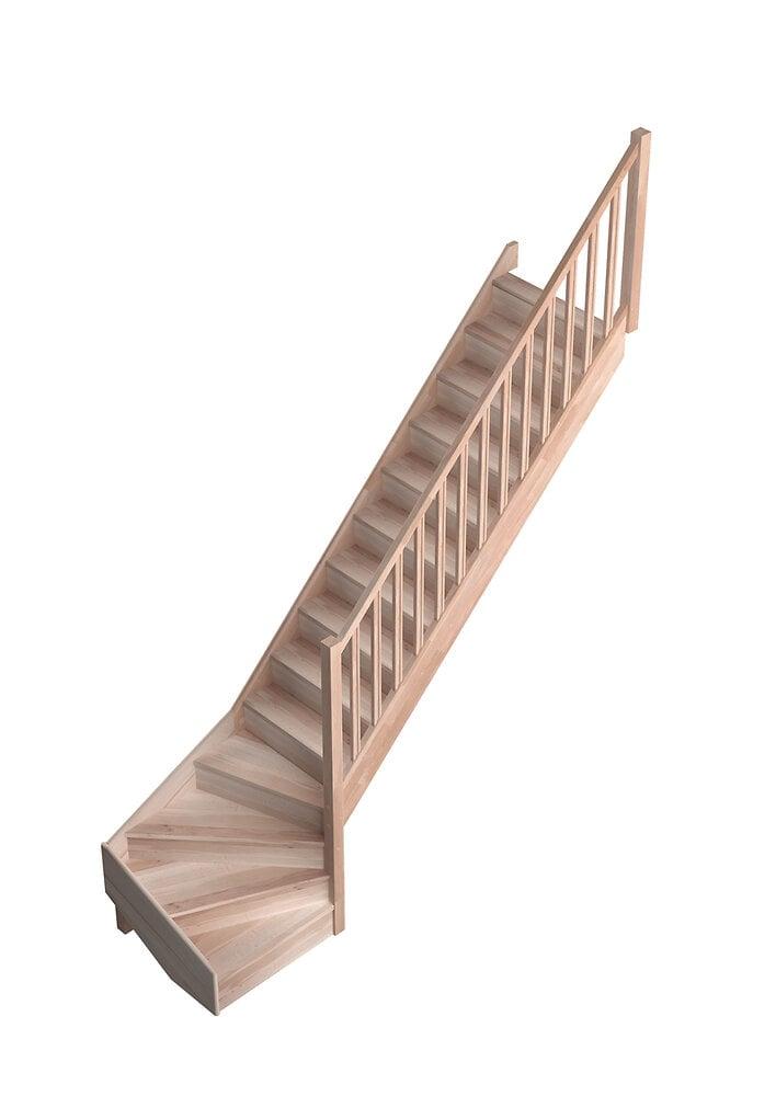 Escalier ECO FRANCE hêtre 1/4 tournant droit