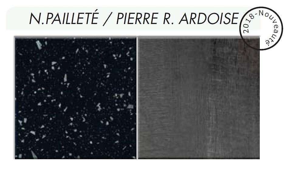 Crédence réversible Noir paill./Pierre ardoi 3000x600x9