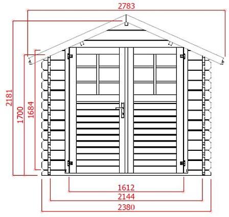 Abri en bois 28 mm 238x238 CM