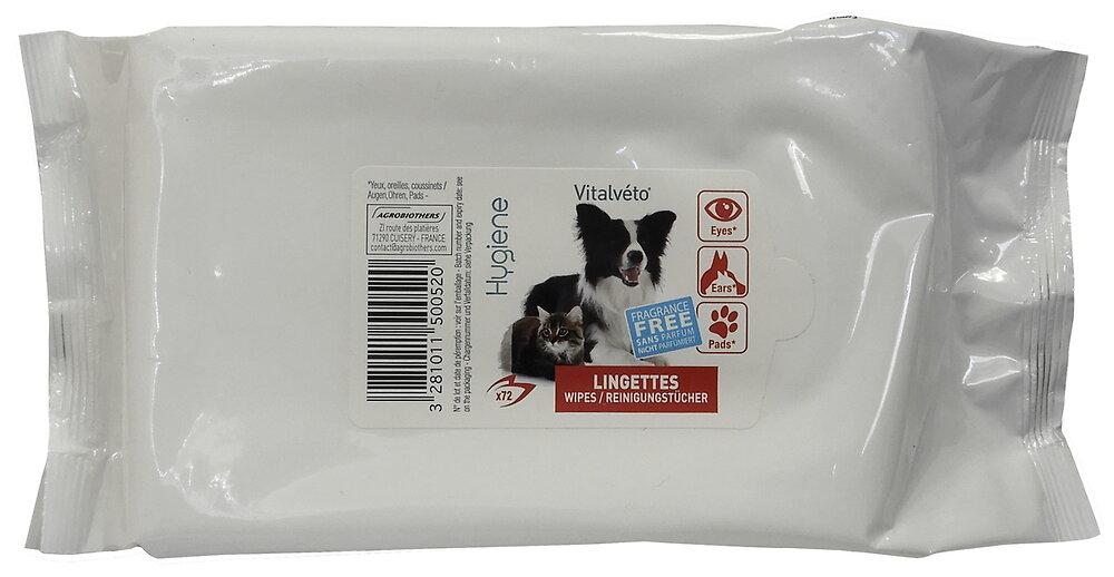 Lingettes nettoyantes pour chien et chat paquet de 72
