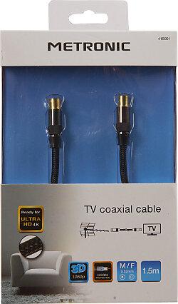 Câble TV premium coaxial 9.52mm dorées mâle-fem gaine tressée - noir