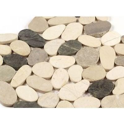 Feuille 300x300 galets rectifiés blanc/gris clair/gris foncé