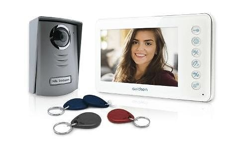Interphone vidéo extra plat-effet miroir liaison 2 fils
