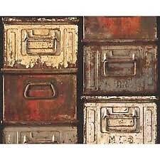 Papier peint Vinyl sur intissé boîtes métal rouge 230g/m2