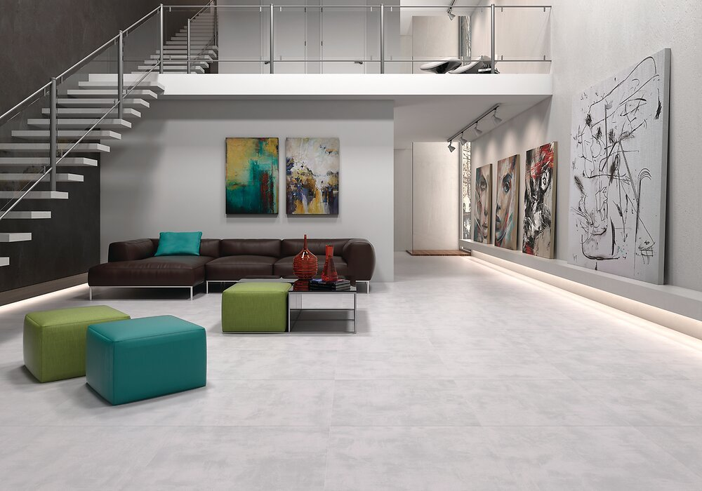 Carrelage sol intérieur Cemento blanc 45x45cm