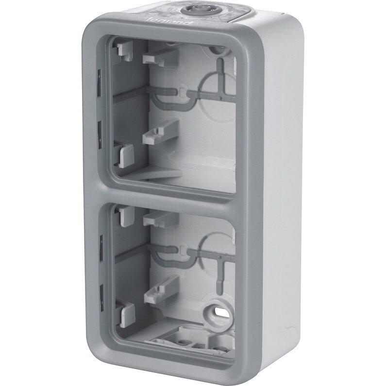 Boîtier Plexo 2 postes vertical - pour montage en saillie - gris