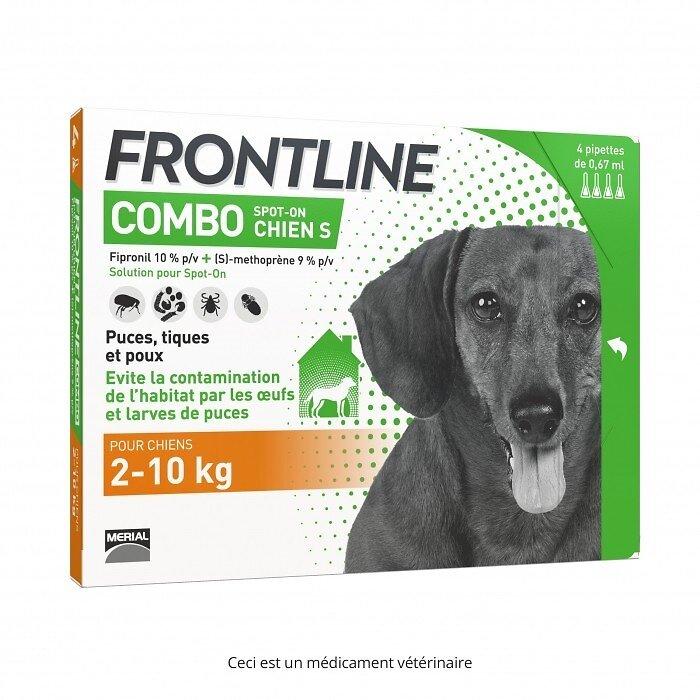 4 pipettes antiparasitaires FRONTLINE COMBO Spot-On chien S 2 à 10kg