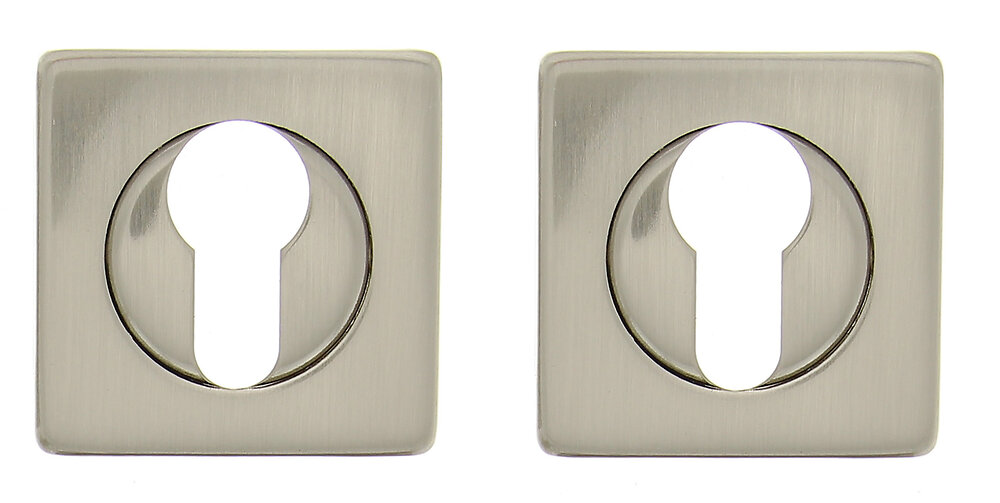 2 rosaces carrées trou de cylindre en acier nickel mat
