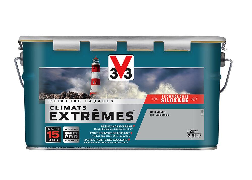 Peinture façade Climats extrêmes monocouche Mat V33 - Gris Moyen 2.5L