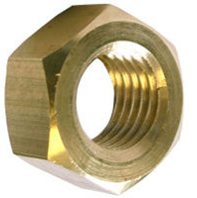 12 écrous hexagonaux laiton 6mm