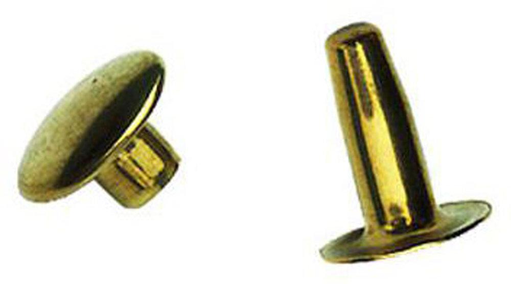 8 rivets tubulaires en laiton 4.4x12mm