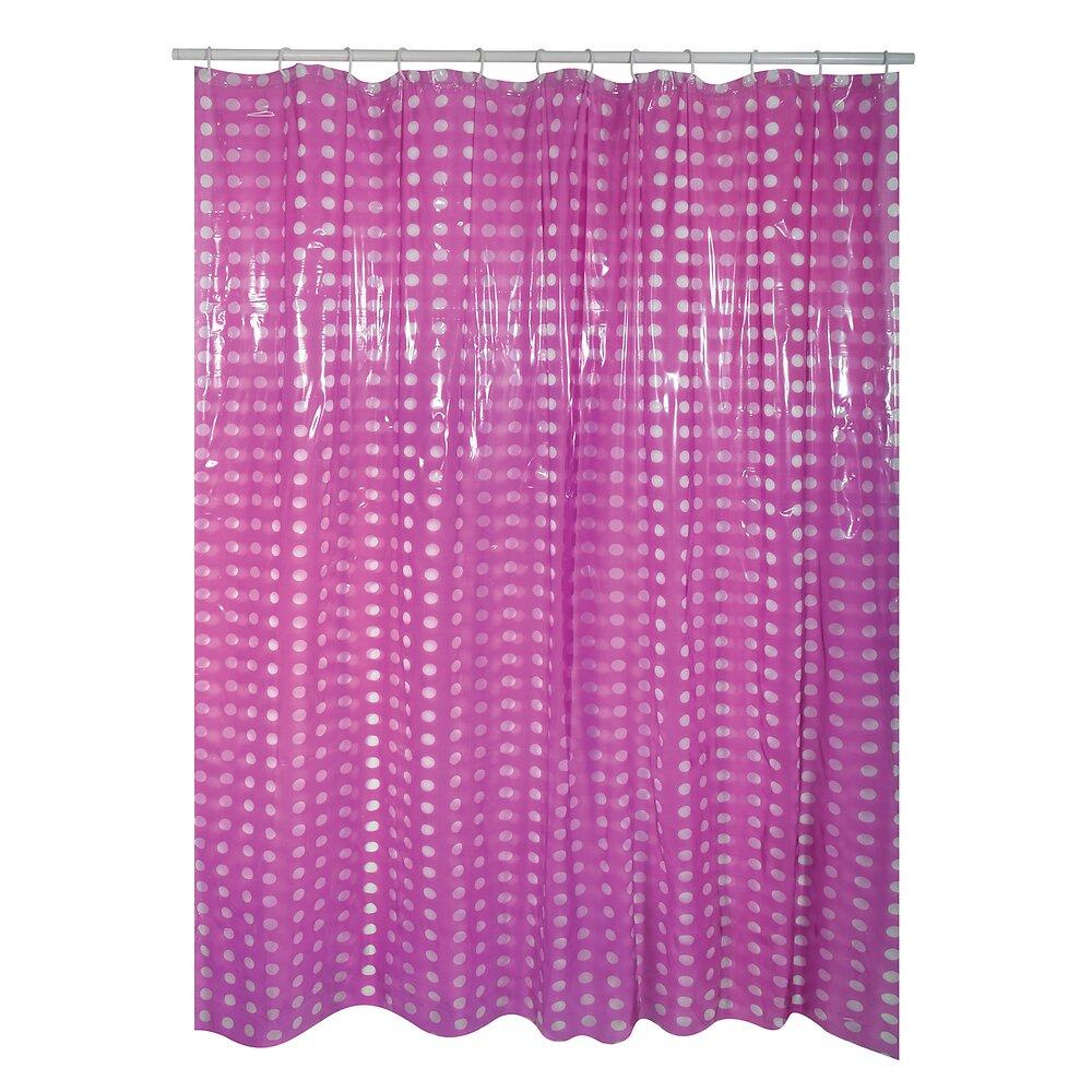 Rideau de douche l.180xh.200cm violet à pois transparents, PVC