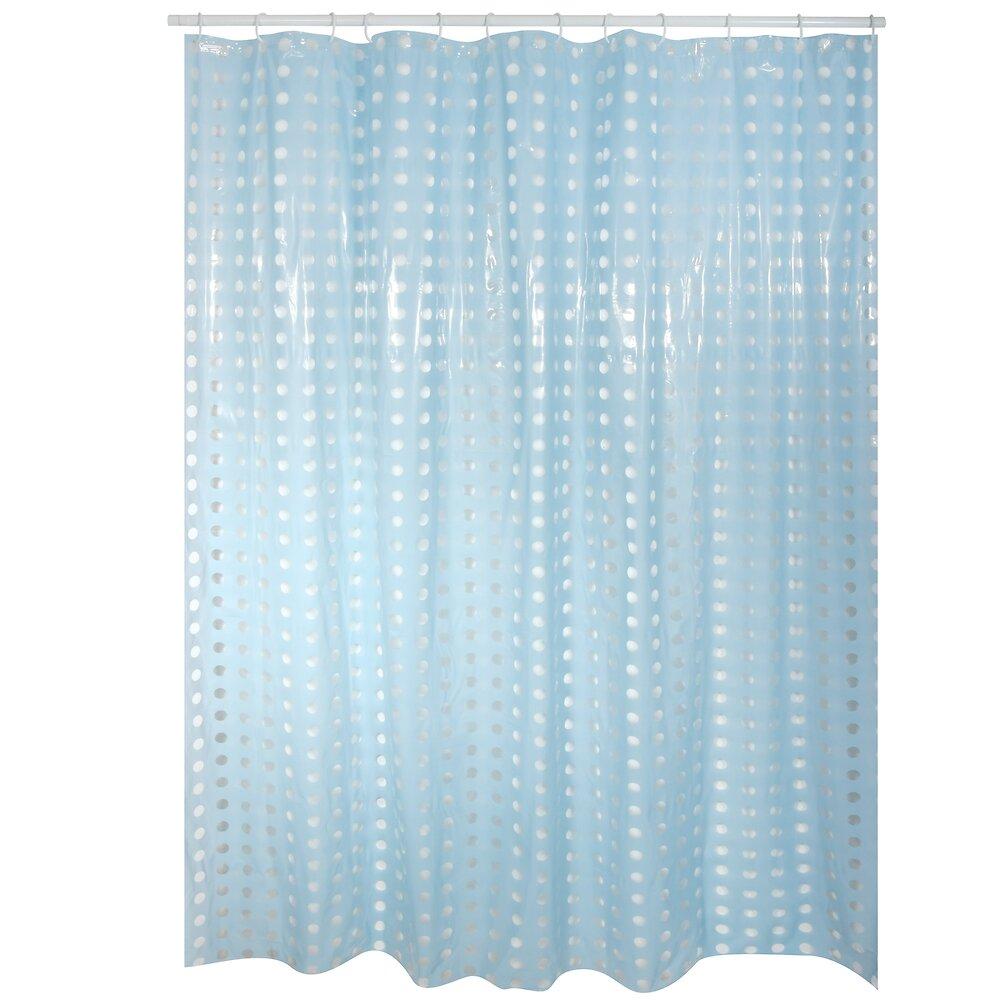 Rideau de douche l.180xh.200cm bleu ciel à pois transparents, PVC