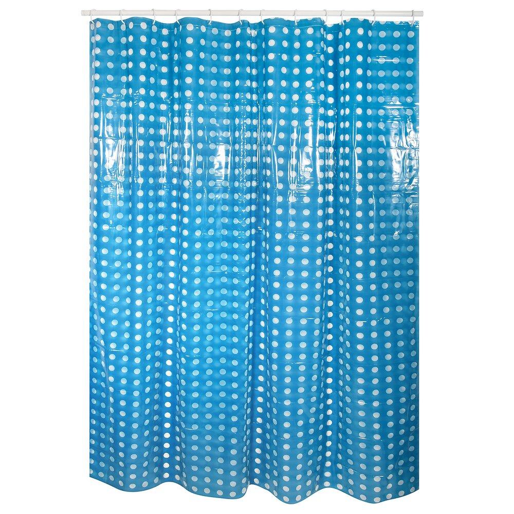 Rideau de douche l.180xh.200cm bleu foncé à pois transparents, PVC