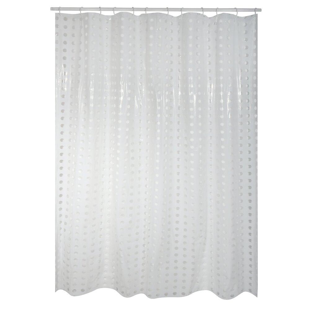 Rideau de douche l.180xh.200cm blanc  à pois transparents, PVC