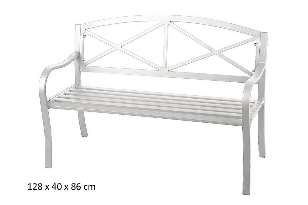 Banc de jardin acier epoxy blanc