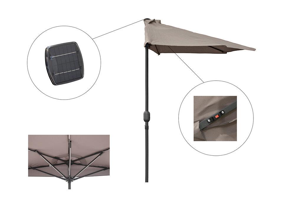 Parasol LED Balcon 2,7x1,3m taupe