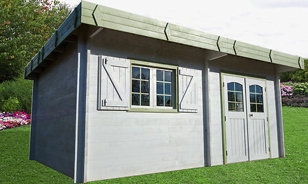 Abri bois massif toit plat 42mm 25.37m2
